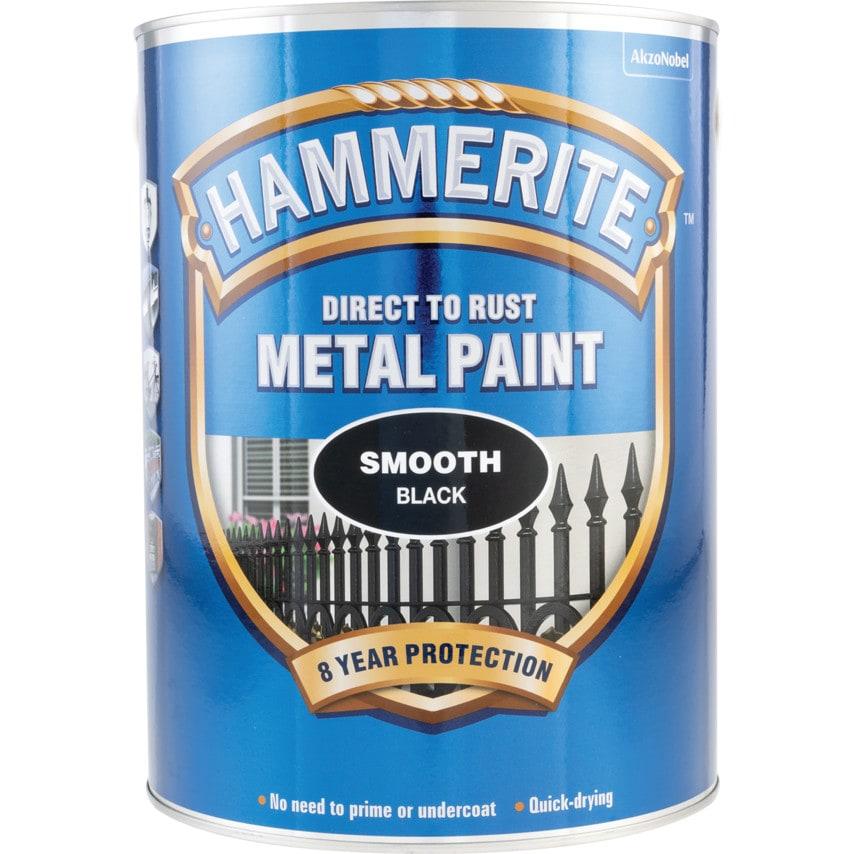 Hammerite Black Smoothrite Paint 5Ltr U.K. ID ZT1036243X