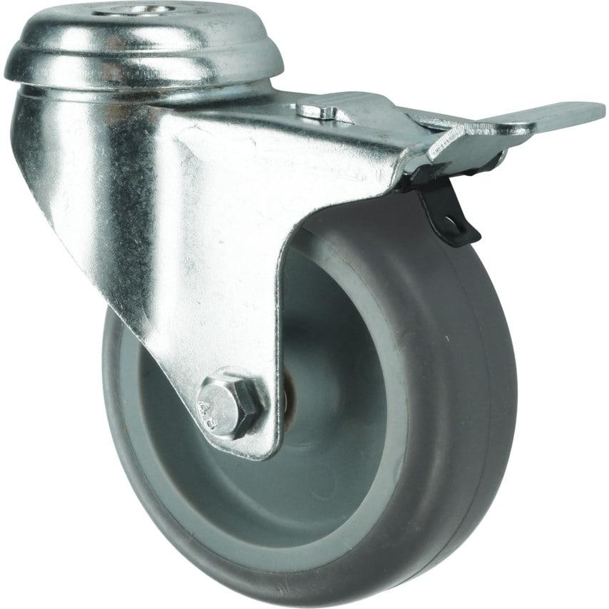 Atlas Workholders Braked Swivel Bolt Hole 1 00Mm Rubber Tyre UK Specification