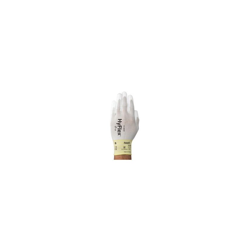 Ansell 11-600 Hyflex Palm-Side Coated White Gloves Size 10 UK Specification