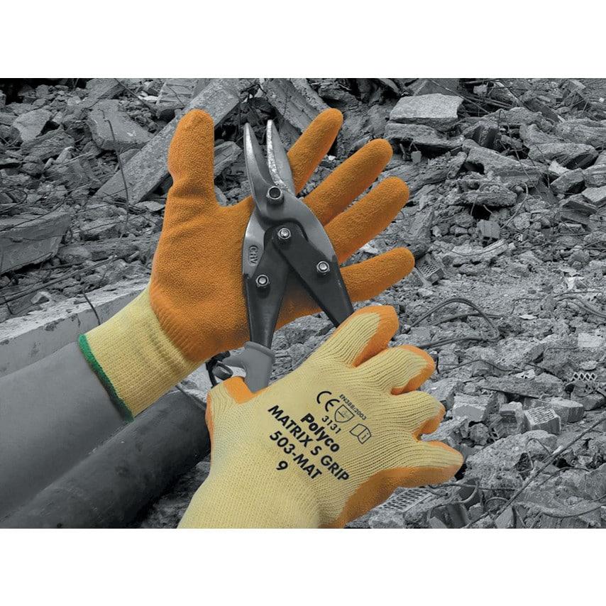 Polyco Matrix S Grip Palm-Side Coated Yellow/Orange Gloves Size 9 UK Specification