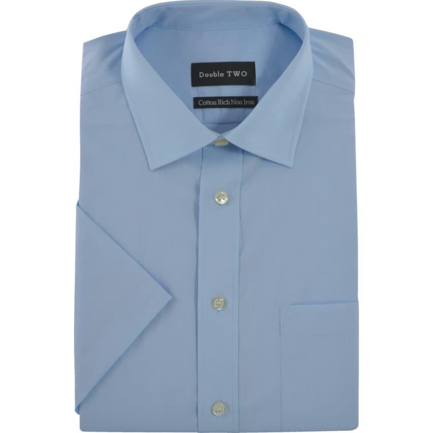 Double Two Men'S 15In Short Sleeve Blue Poplin Shirt UK Specification